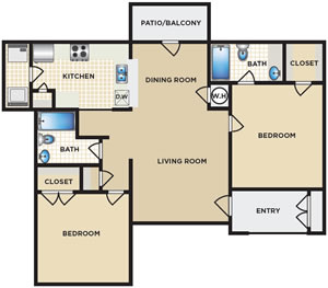 Two Bedroom / Two Bath - 930 Sq. Ft.*