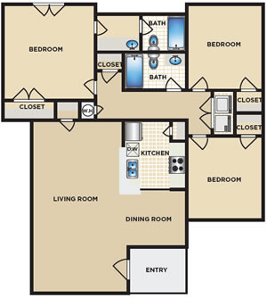 Three Bedroom / Two Bath - 1,192 Sq. Ft.*
